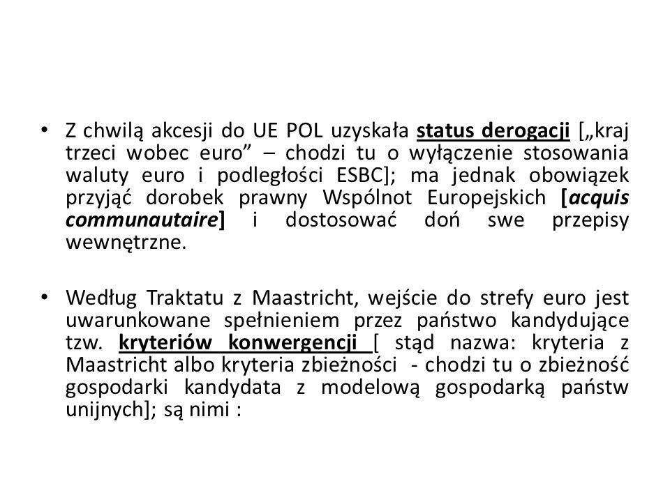 """Z chwilą akcesji do UE POL uzyskała status derogacji [""""kraj trzeci wobec euro"""" – chodzi tu o wyłączenie stosowania waluty euro i podległości ESBC]; ma"""