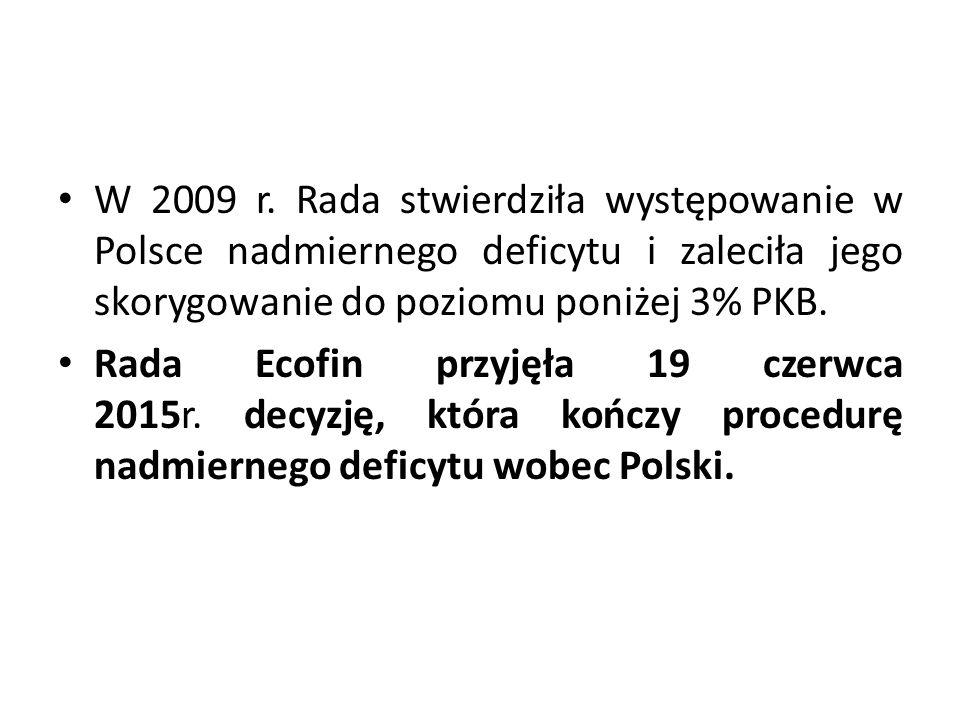 W 2009 r. Rada stwierdziła występowanie w Polsce nadmiernego deficytu i zaleciła jego skorygowanie do poziomu poniżej 3% PKB. Rada Ecofin przyjęła 19