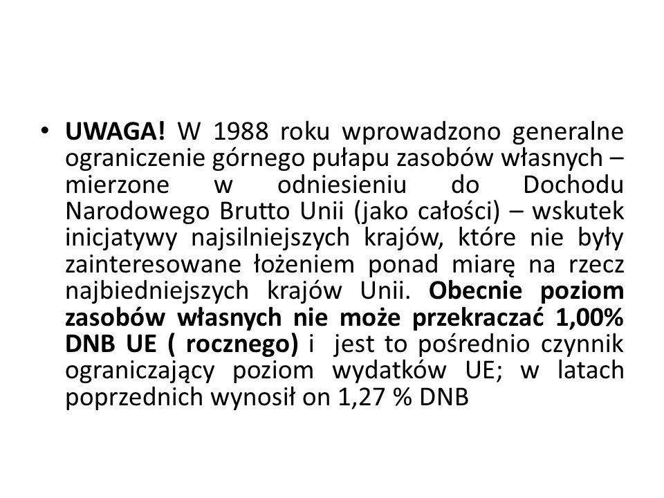 UWAGA! W 1988 roku wprowadzono generalne ograniczenie górnego pułapu zasobów własnych – mierzone w odniesieniu do Dochodu Narodowego Brutto Unii (jako