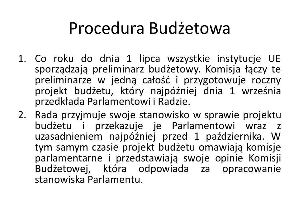 Procedura Budżetowa 1.Co roku do dnia 1 lipca wszystkie instytucje UE sporządzają preliminarz budżetowy. Komisja łączy te preliminarze w jedną całość