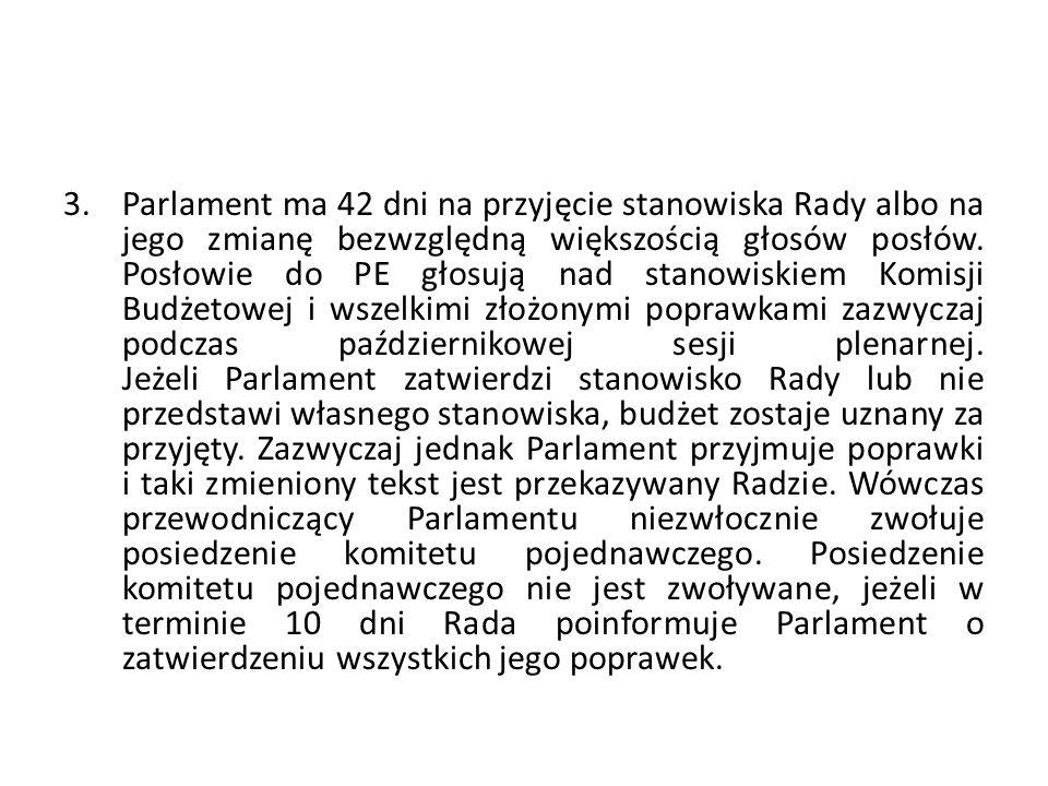 3.Parlament ma 42 dni na przyjęcie stanowiska Rady albo na jego zmianę bezwzględną większością głosów posłów. Posłowie do PE głosują nad stanowiskiem