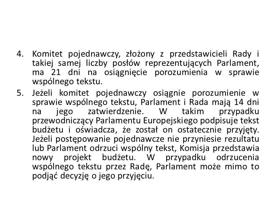 4.Komitet pojednawczy, złożony z przedstawicieli Rady i takiej samej liczby posłów reprezentujących Parlament, ma 21 dni na osiągnięcie porozumienia w