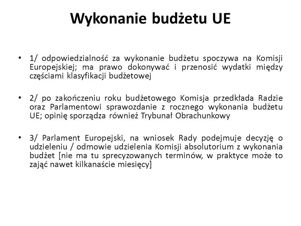 Wykonanie budżetu UE 1/ odpowiedzialność za wykonanie budżetu spoczywa na Komisji Europejskiej; ma prawo dokonywać i przenosić wydatki między częściam