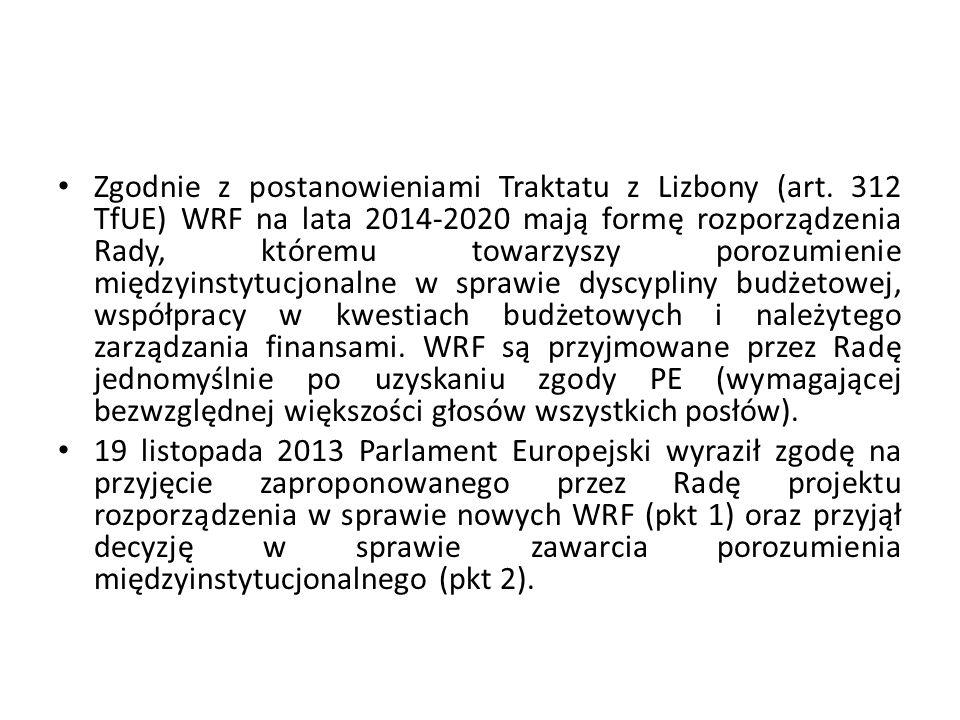 Zgodnie z postanowieniami Traktatu z Lizbony (art. 312 TfUE) WRF na lata 2014-2020 mają formę rozporządzenia Rady, któremu towarzyszy porozumienie mię