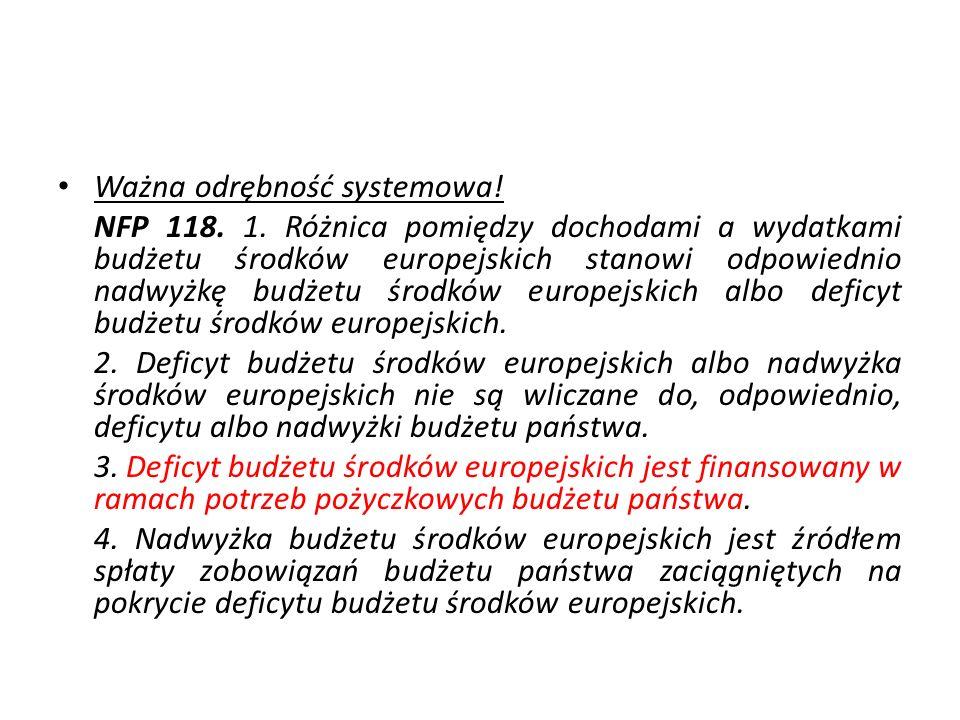 Ważna odrębność systemowa! NFP 118. 1. Różnica pomiędzy dochodami a wydatkami budżetu środków europejskich stanowi odpowiednio nadwyżkę budżetu środkó