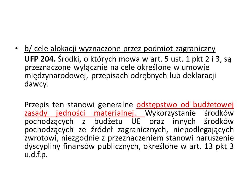 b/ cele alokacji wyznaczone przez podmiot zagraniczny UFP 204. Środki, o których mowa w art. 5 ust. 1 pkt 2 i 3, są przeznaczone wyłącznie na cele okr