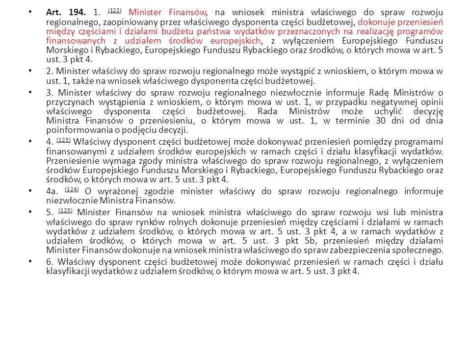 Art. 194. 1. (122) Minister Finansów, na wniosek ministra właściwego do spraw rozwoju regionalnego, zaopiniowany przez właściwego dysponenta części bu
