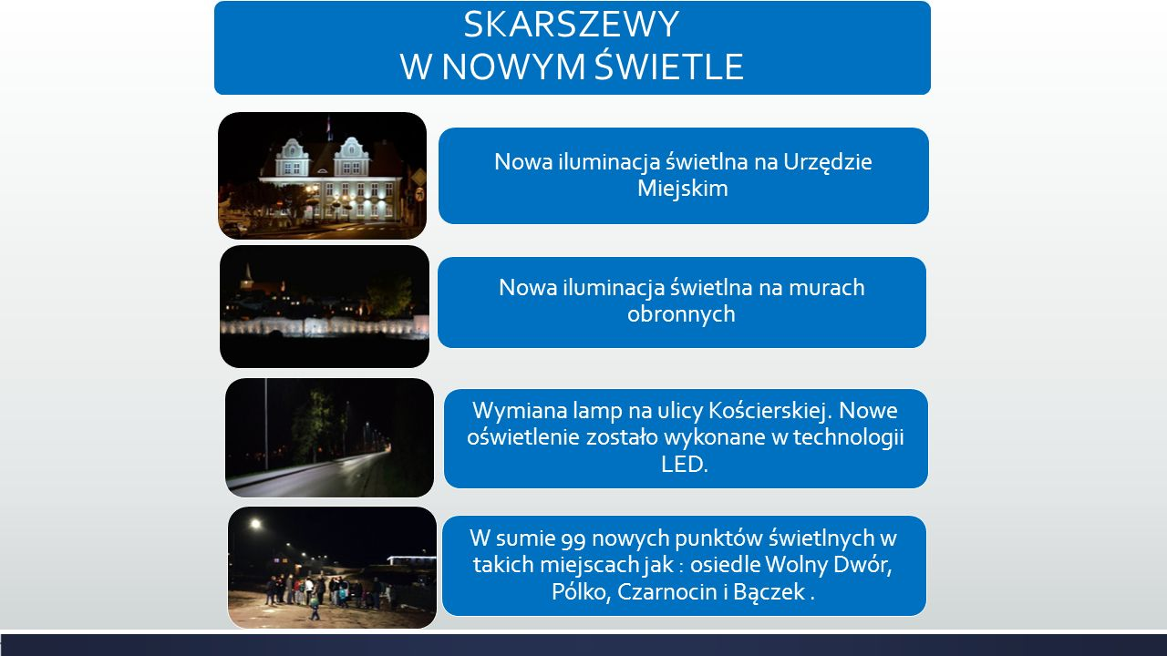 SKARSZEWY W NOWYM ŚWIETLE Nowa iluminacja świetlna na Urzędzie Miejskim Nowa iluminacja świetlna na murach obronnych Wymiana lamp na ulicy Kościerskiej.