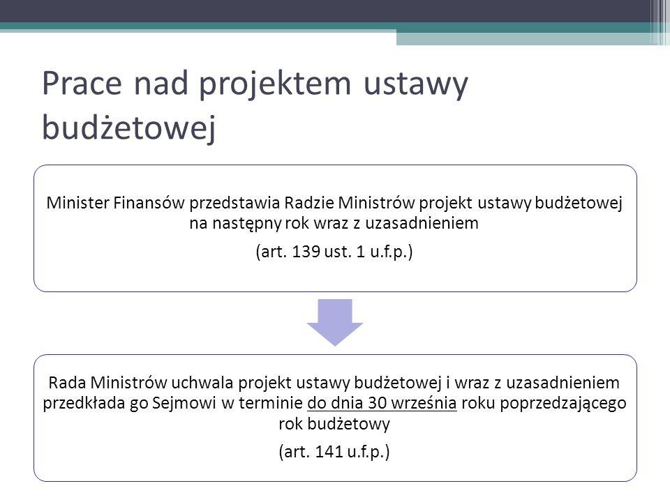 Prace nad projektem ustawy budżetowej Minister Finansów przedstawia Radzie Ministrów projekt ustawy budżetowej na następny rok wraz z uzasadnieniem (a