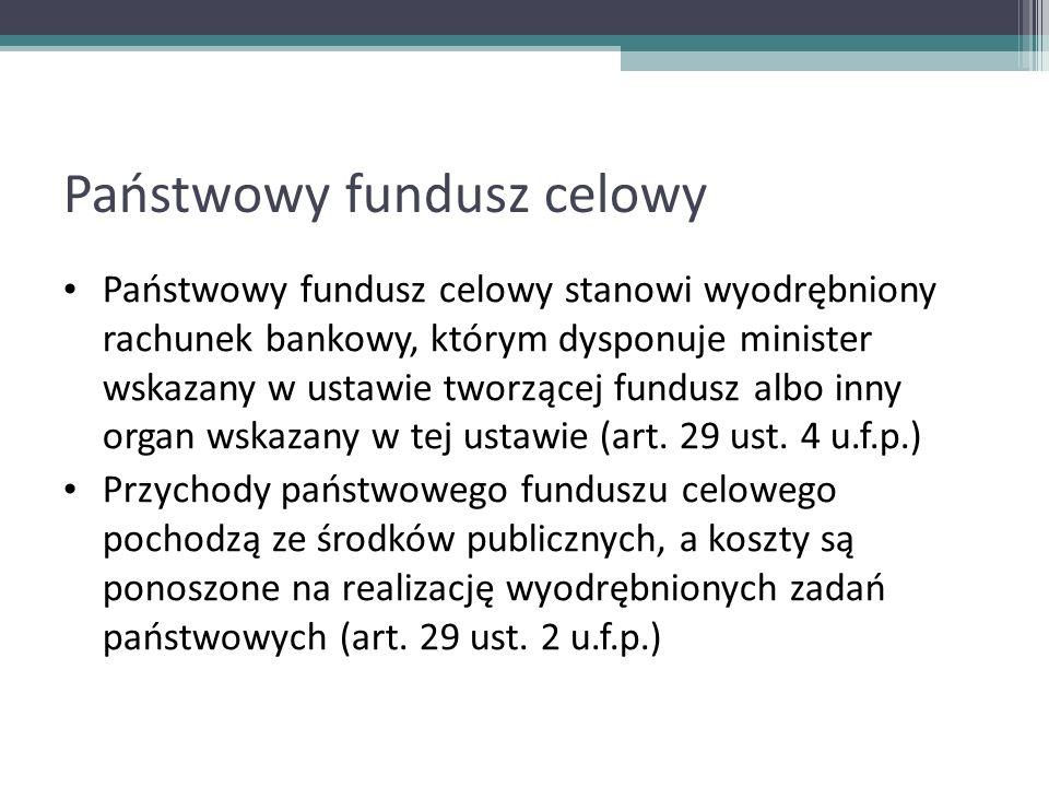 Państwowy fundusz celowy Państwowy fundusz celowy stanowi wyodrębniony rachunek bankowy, którym dysponuje minister wskazany w ustawie tworzącej fundus