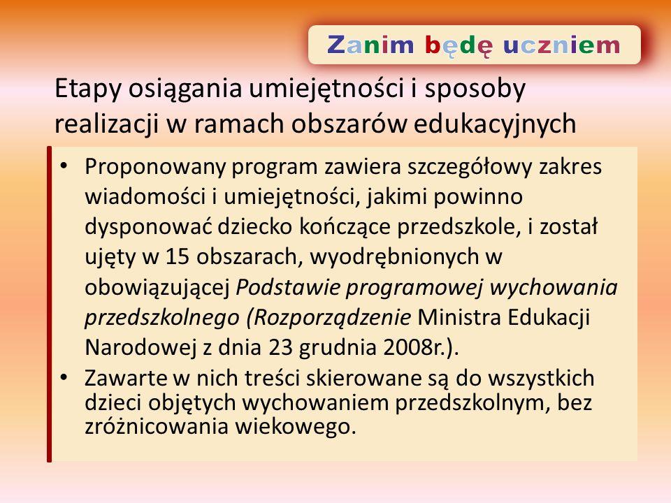 Etapy osiągania umiejętności i sposoby realizacji w ramach obszarów edukacyjnych Proponowany program zawiera szczegółowy zakres wiadomości i umiejętności, jakimi powinno dysponować dziecko kończące przedszkole, i został ujęty w 15 obszarach, wyodrębnionych w obowiązującej Podstawie programowej wychowania przedszkolnego (Rozporządzenie Ministra Edukacji Narodowej z dnia 23 grudnia 2008r.).