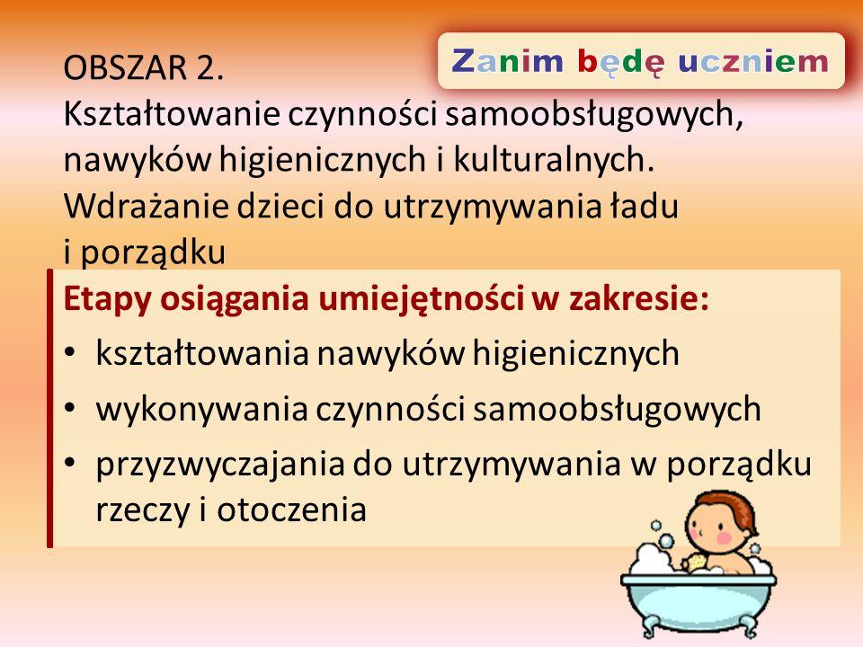 OBSZAR 2. Kształtowanie czynności samoobsługowych, nawyków higienicznych i kulturalnych.