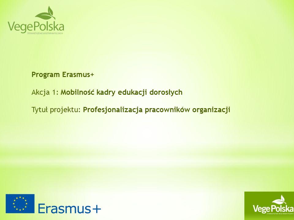 Program Erasmus+ Akcja 1: Mobilność kadry edukacji dorosłych Tytuł projektu: Profesjonalizacja pracowników organizacji