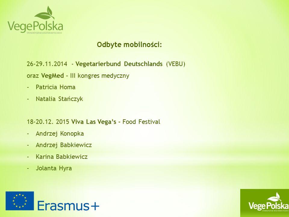 Odbyte mobilności: 26-29.11.2014 - Vegetarierbund Deutschlands (VEBU) oraz VegMed – III kongres medyczny -Patricia Homa -Natalia Stańczyk 18-20.12.