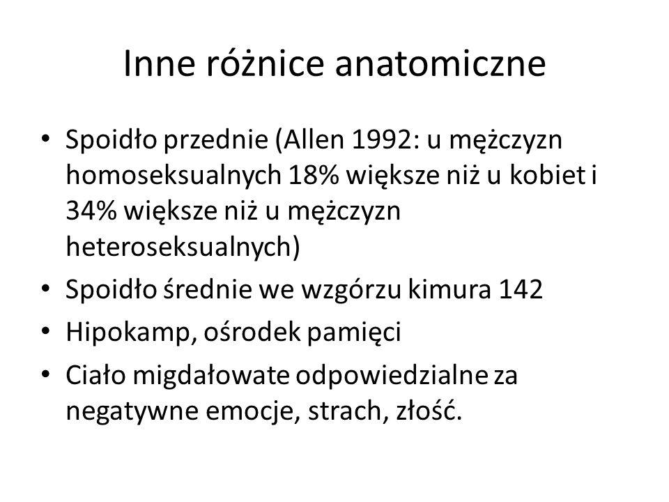 Inne różnice anatomiczne Spoidło przednie (Allen 1992: u mężczyzn homoseksualnych 18% większe niż u kobiet i 34% większe niż u mężczyzn heteroseksualnych) Spoidło średnie we wzgórzu kimura 142 Hipokamp, ośrodek pamięci Ciało migdałowate odpowiedzialne za negatywne emocje, strach, złość.