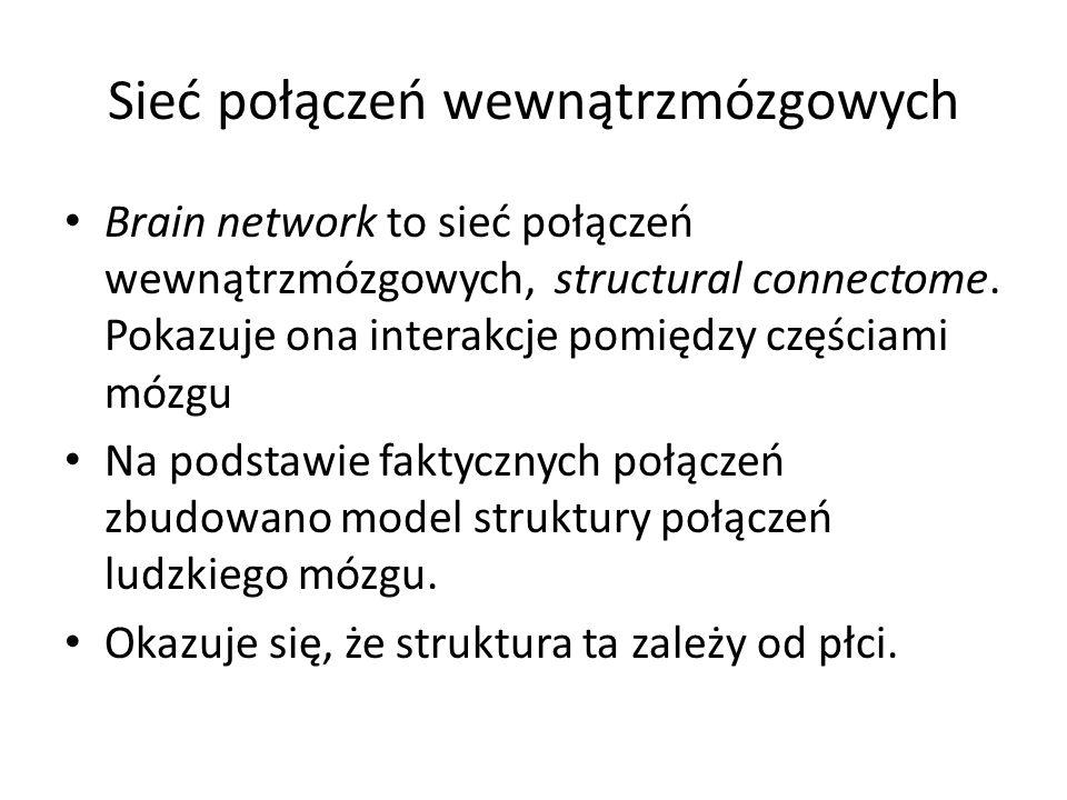 Sieć połączeń wewnątrzmózgowych Brain network to sieć połączeń wewnątrzmózgowych, structural connectome. Pokazuje ona interakcje pomiędzy częściami mó
