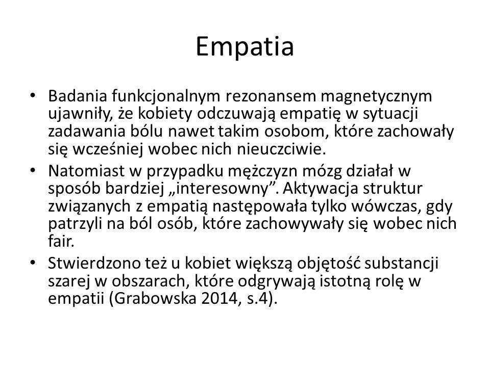Empatia Badania funkcjonalnym rezonansem magnetycznym ujawniły, że kobiety odczuwają empatię w sytuacji zadawania bólu nawet takim osobom, które zachowały się wcześniej wobec nich nieuczciwie.