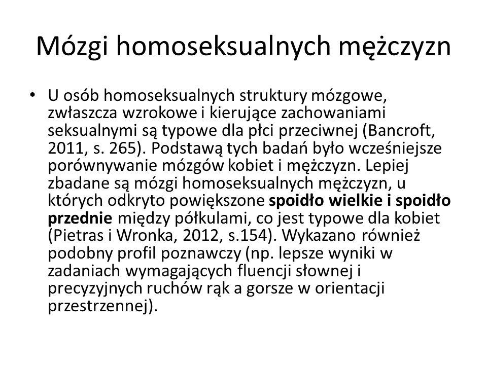 Mózgi homoseksualnych mężczyzn U osób homoseksualnych struktury mózgowe, zwłaszcza wzrokowe i kierujące zachowaniami seksualnymi są typowe dla płci przeciwnej (Bancroft, 2011, s.