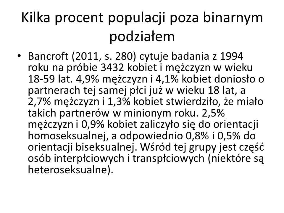 Kilka procent populacji poza binarnym podziałem Bancroft (2011, s. 280) cytuje badania z 1994 roku na próbie 3432 kobiet i mężczyzn w wieku 18-59 lat.