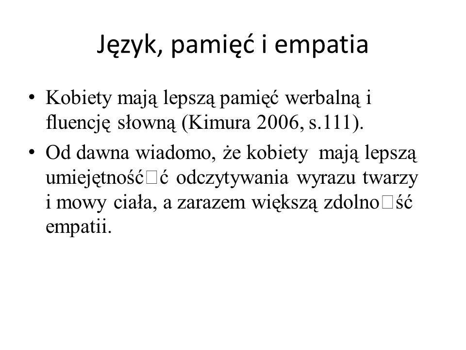 Język, pamięć i empatia Kobiety mają lepszą pamięć werbalną i fluencję słowną (Kimura 2006, s.111). Od dawna wiadomo, że kobiety mają lepszą umiejętno