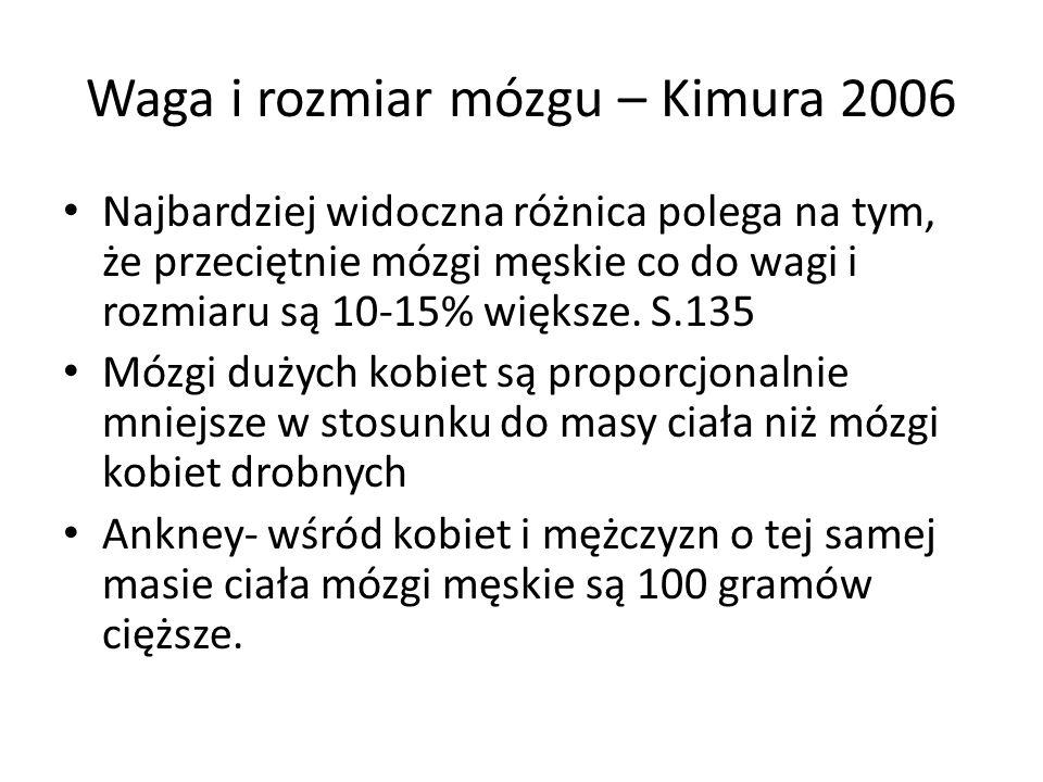 Waga i rozmiar mózgu – Kimura 2006 Najbardziej widoczna różnica polega na tym, że przeciętnie mózgi męskie co do wagi i rozmiaru są 10-15% większe.
