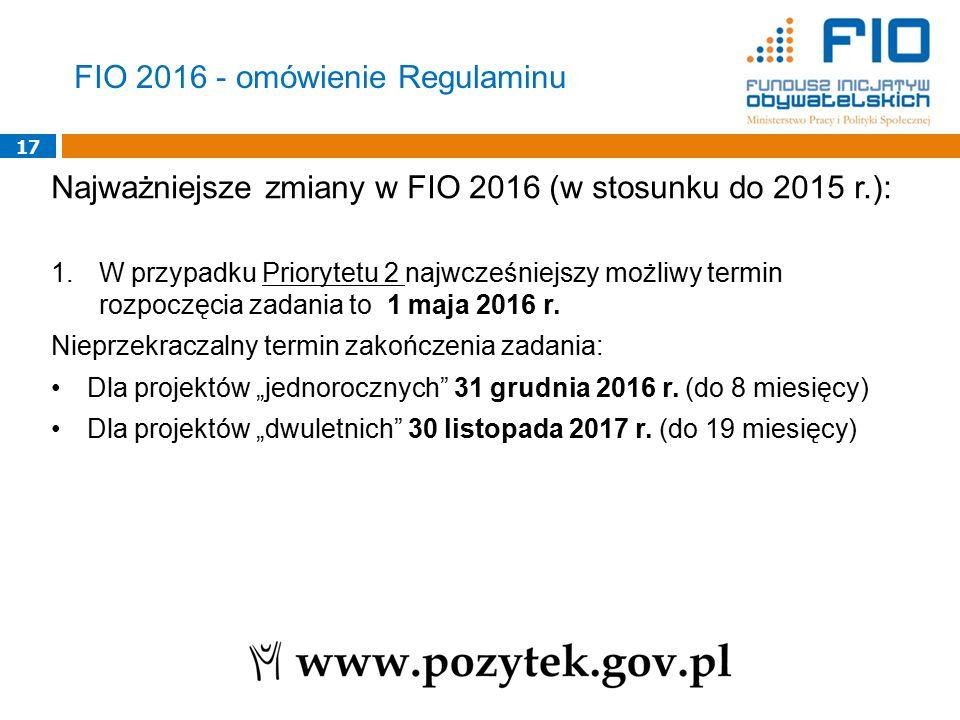 17 Najważniejsze zmiany w FIO 2016 (w stosunku do 2015 r.): 1.W przypadku Priorytetu 2 najwcześniejszy możliwy termin rozpoczęcia zadania to 1 maja 20