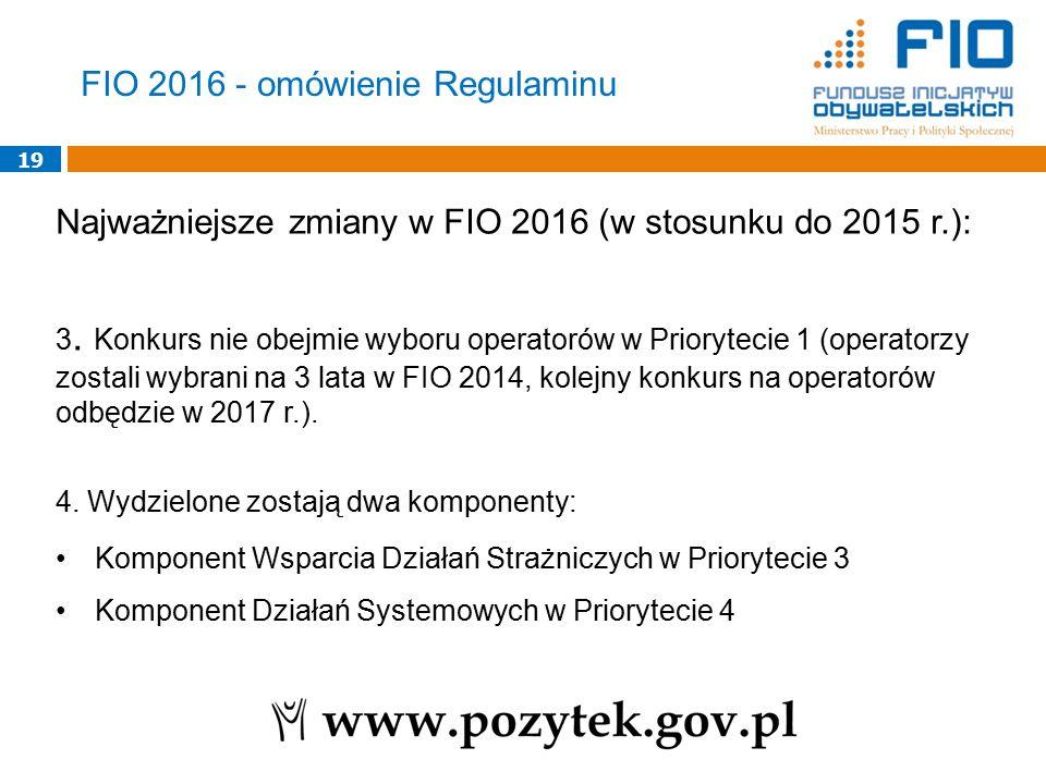 19 Najważniejsze zmiany w FIO 2016 (w stosunku do 2015 r.): 3. Konkurs nie obejmie wyboru operatorów w Priorytecie 1 (operatorzy zostali wybrani na 3