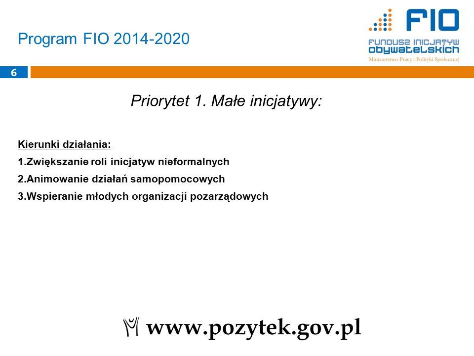 Program FIO 2014-2020 6 Priorytet 1. Małe inicjatywy: Kierunki działania: 1.Zwiększanie roli inicjatyw nieformalnych 2.Animowanie działań samopomocowy