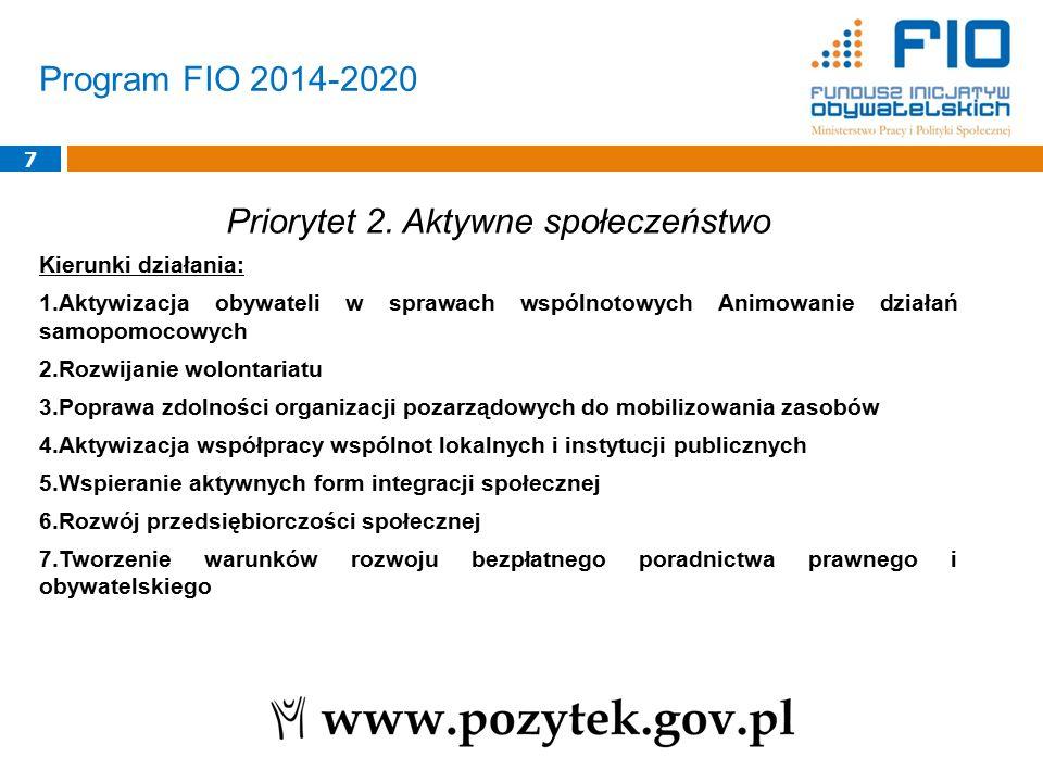 Program FIO 2014-2020 7 Priorytet 2. Aktywne społeczeństwo Kierunki działania: 1.Aktywizacja obywateli w sprawach wspólnotowych Animowanie działań sam