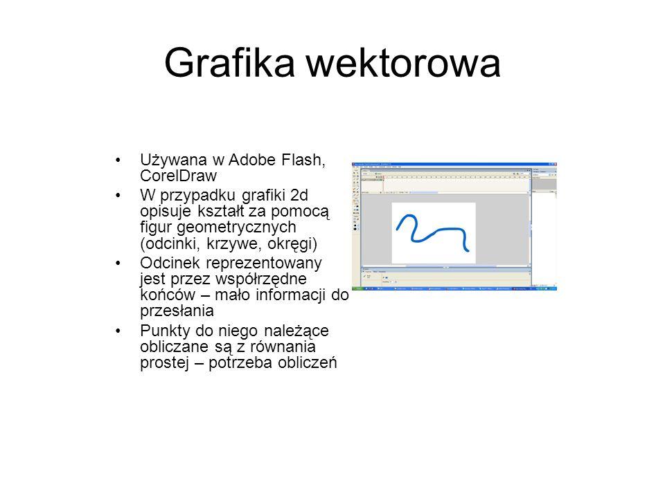 Grafika wektorowa Używana w Adobe Flash, CorelDraw W przypadku grafiki 2d opisuje kształt za pomocą figur geometrycznych (odcinki, krzywe, okręgi) Odc