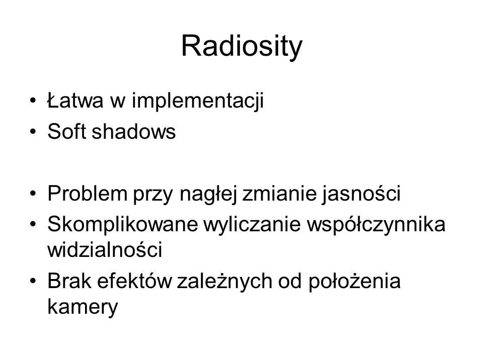 Radiosity Łatwa w implementacji Soft shadows Problem przy nagłej zmianie jasności Skomplikowane wyliczanie współczynnika widzialności Brak efektów zal