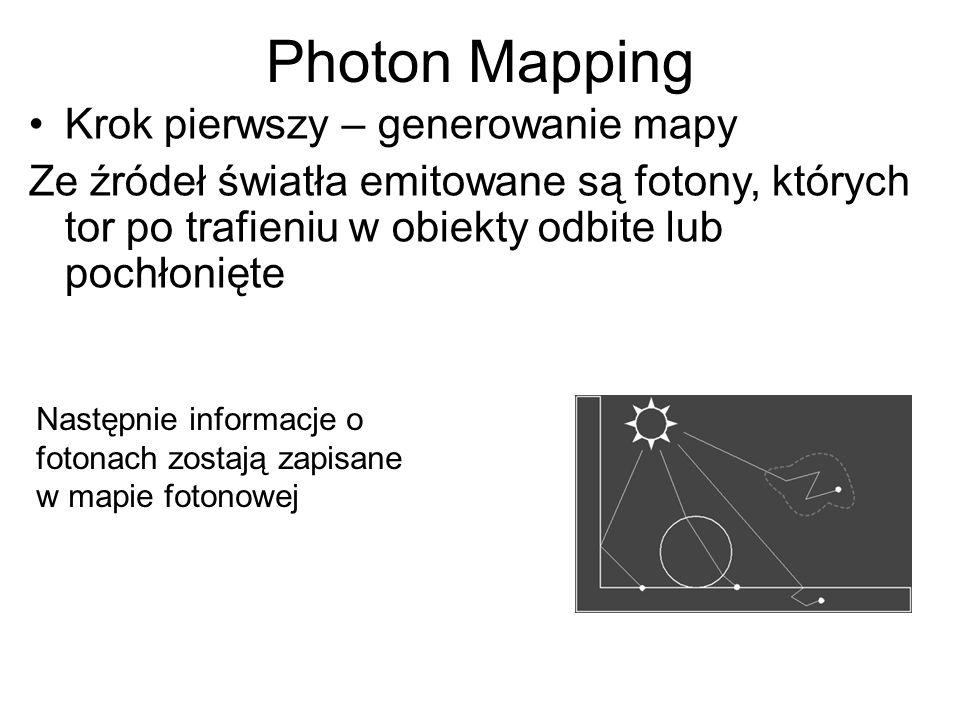 Photon Mapping Krok pierwszy – generowanie mapy Ze źródeł światła emitowane są fotony, których tor po trafieniu w obiekty odbite lub pochłonięte Nastę