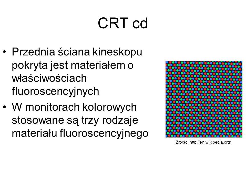 CRT cd Przednia ściana kineskopu pokryta jest materiałem o właściwościach fluoroscencyjnych W monitorach kolorowych stosowane są trzy rodzaje materiał