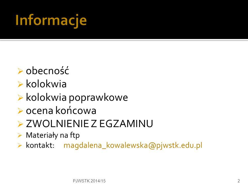  Taktyka upokarzania  Taktyka zastraszania  Taktyka pomniejszania kompetencji PJWSTK 2014/1513