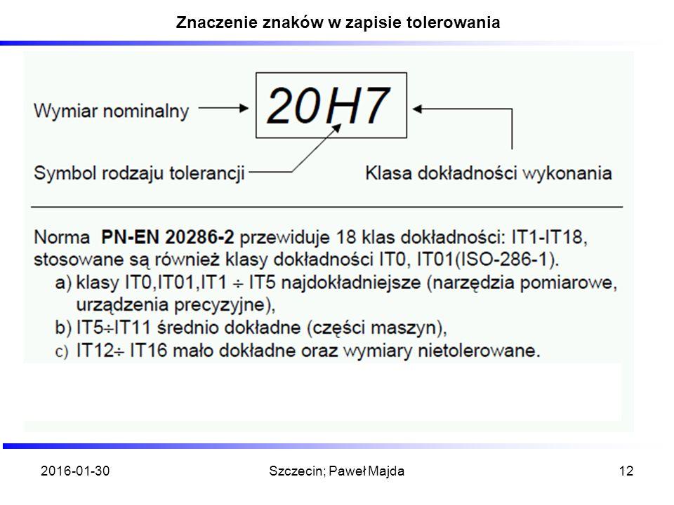 2016-01-30Szczecin; Paweł Majda12 Znaczenie znaków w zapisie tolerowania