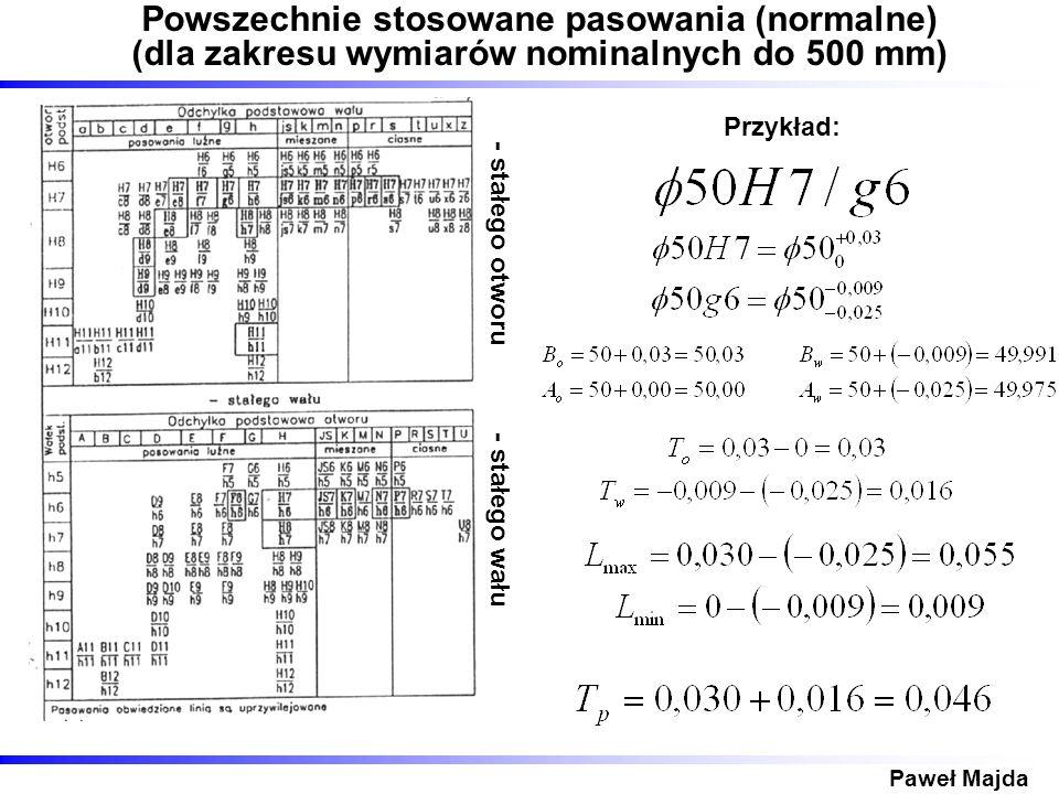 Paweł Majda Powszechnie stosowane pasowania (normalne) (dla zakresu wymiarów nominalnych do 500 mm) - stałego otworu - stałego wału Przykład: