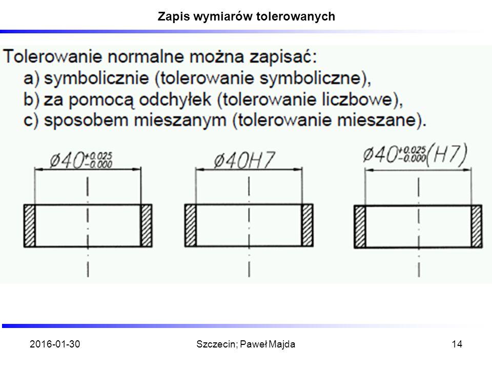 2016-01-30Szczecin; Paweł Majda14 Zapis wymiarów tolerowanych