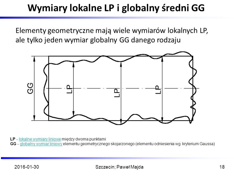2016-01-30Szczecin; Paweł Majda18 Wymiary lokalne LP i globalny średni GG Elementy geometryczne mają wiele wymiarów lokalnych LP, ale tylko jeden wymi
