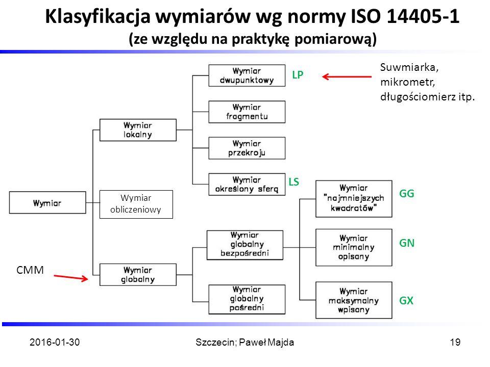 2016-01-30Szczecin; Paweł Majda19 Klasyfikacja wymiarów wg normy ISO 14405-1 (ze względu na praktykę pomiarową) Wymiar obliczeniowy Suwmiarka, mikrome