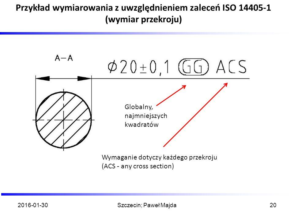 2016-01-30Szczecin; Paweł Majda20 Przykład wymiarowania z uwzględnieniem zaleceń ISO 14405-1 (wymiar przekroju) Globalny, najmniejszych kwadratów Wyma