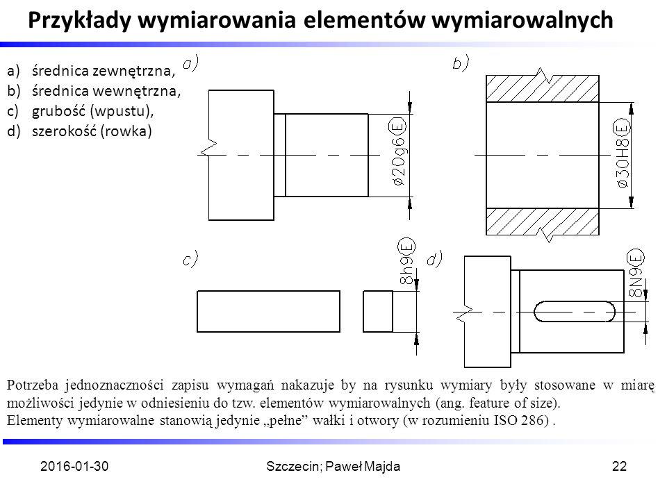 Przykłady wymiarowania elementów wymiarowalnych 2016-01-30Szczecin; Paweł Majda22 Potrzeba jednoznaczności zapisu wymagań nakazuje by na rysunku wymia