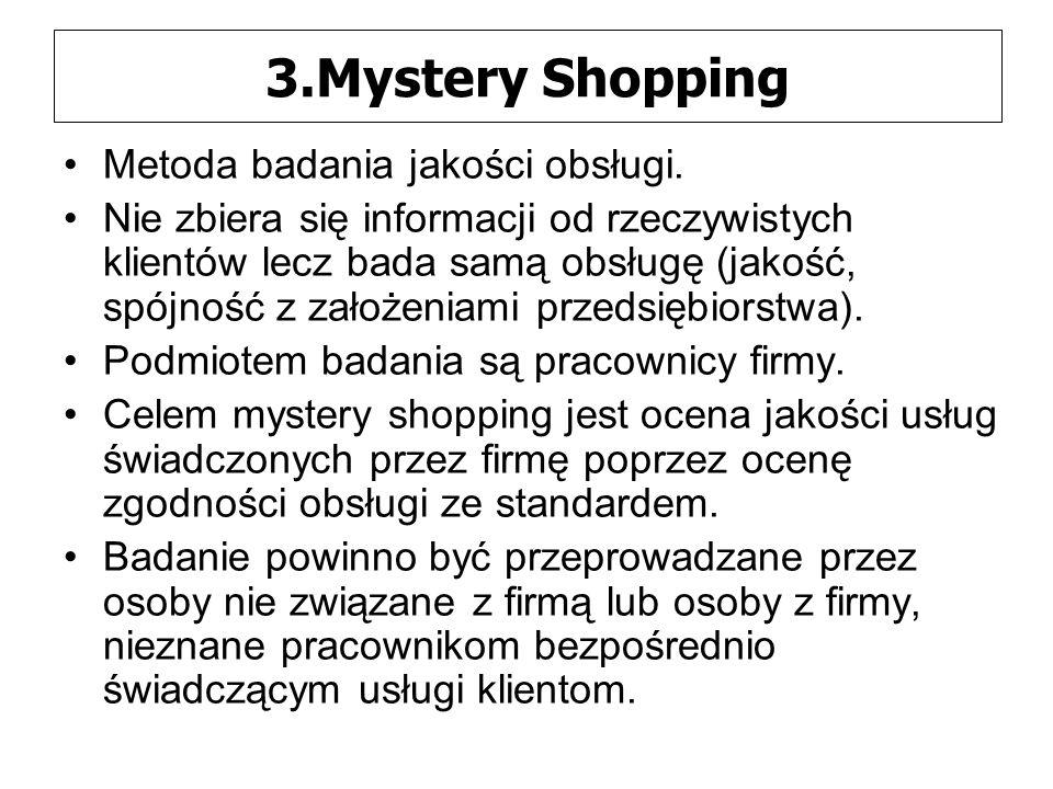 3.Mystery Shopping Metoda badania jakości obsługi.