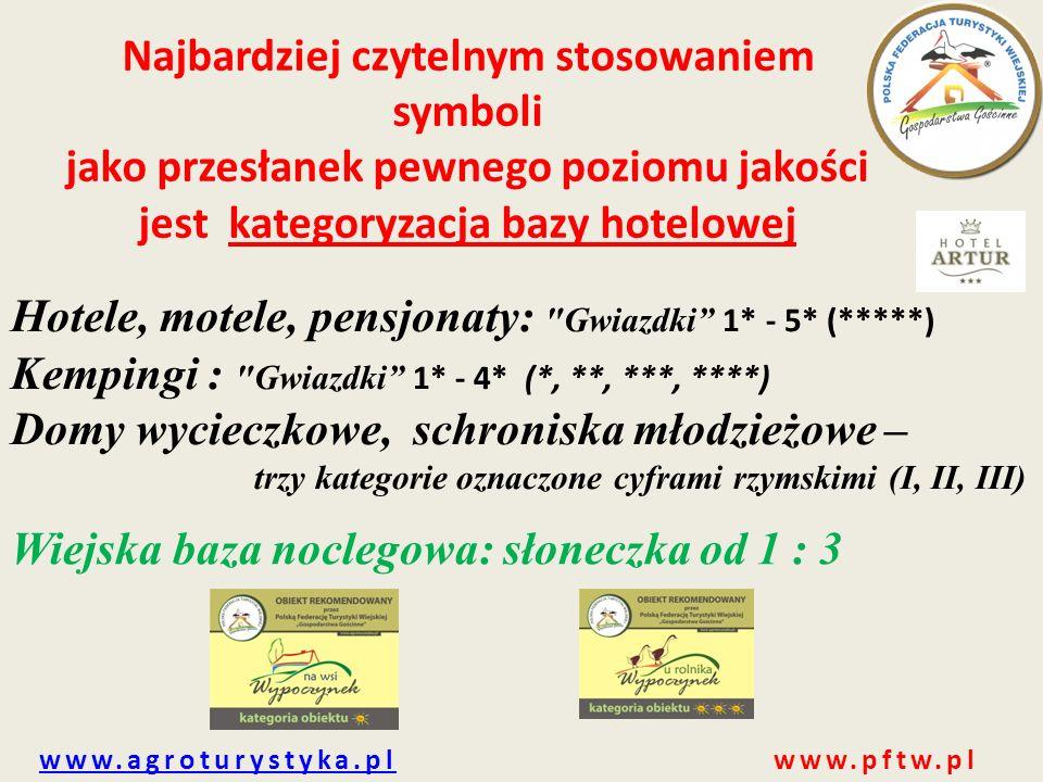 www.agroturystyka.plwww.agroturystyka.pl www.pftw.pl POLSKA FEDERACJA TURYSTYKI WIEJSKIEJ,,GOSPODARSTWA GOŚCINNE'' DĄŻY DO: 1.ujednolicenia standardów gwarantujących turystom dobre warunki wypoczynku w obiektach wiejskiej bazy noclegowej na terenie całego kraju; 2.podnoszenia oraz utrzymania jakości świadczonych usług turystycznych na obszarach wiejskich na terenie całego kraju;