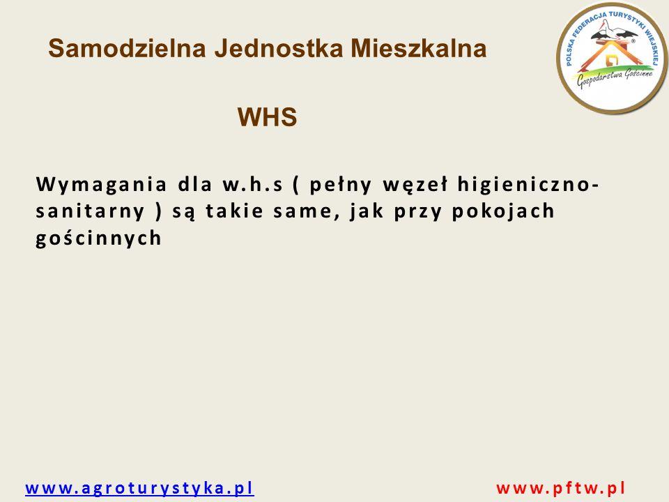www.agroturystyka.plwww.agroturystyka.pl www.pftw.pl Samodzielna Jednostka Mieszkalna WHS Wymagania dla w.h.s ( pełny węzeł higieniczno- sanitarny ) s