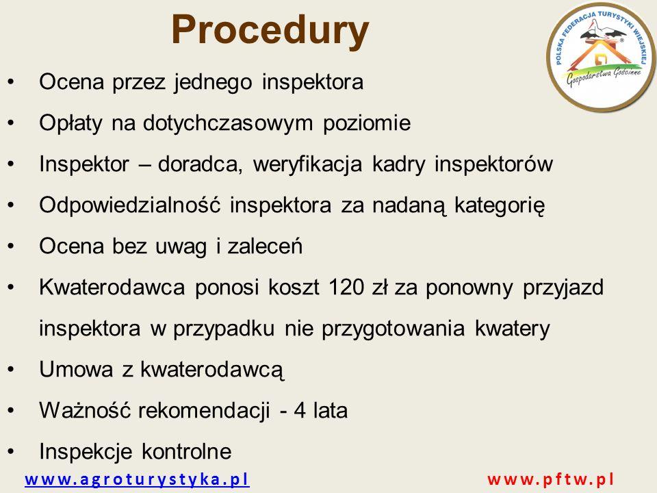 www.agroturystyka.plwww.agroturystyka.pl www.pftw.pl Procedury Ocena przez jednego inspektora Opłaty na dotychczasowym poziomie Inspektor – doradca, w