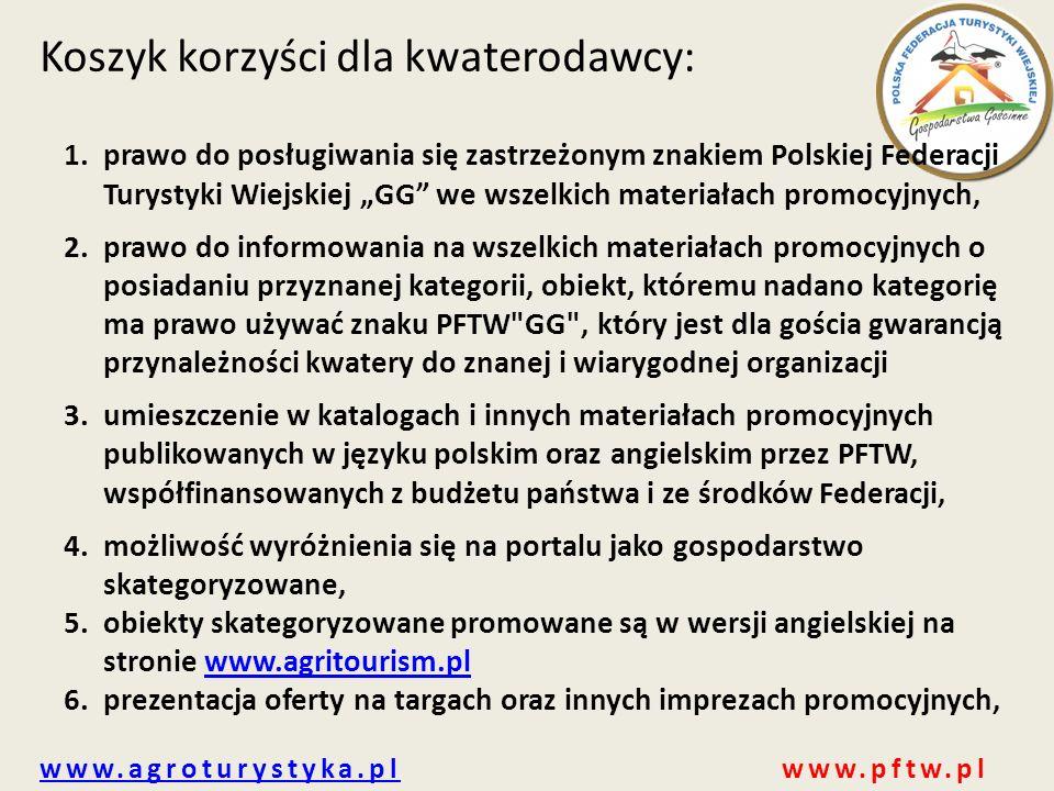 www.agroturystyka.plwww.agroturystyka.pl www.pftw.pl Koszyk korzyści dla kwaterodawcy: 1.prawo do posługiwania się zastrzeżonym znakiem Polskiej Feder