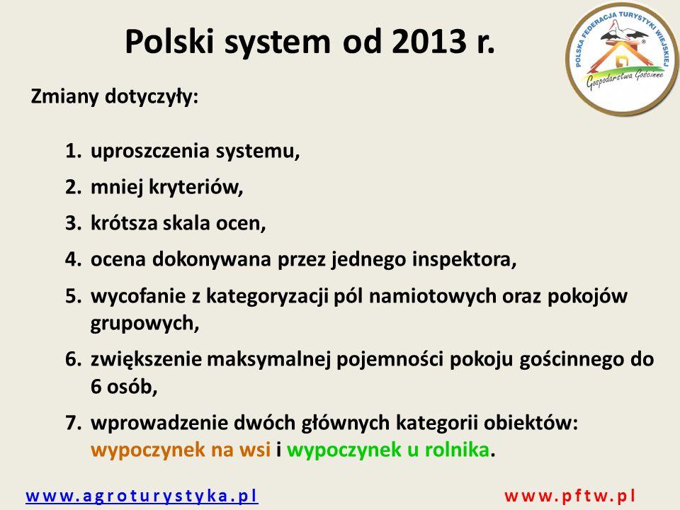 www.agroturystyka.plwww.agroturystyka.pl www.pftw.pl Polski system od 2013 r. Zmiany dotyczyły: 1.uproszczenia systemu, 2.mniej kryteriów, 3.krótsza s