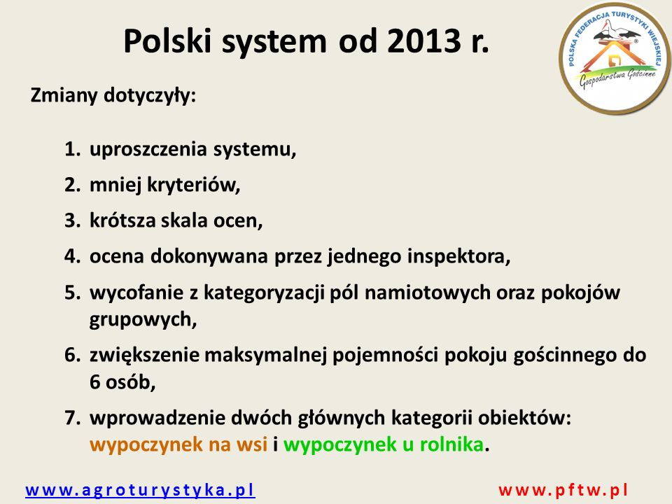 www.agroturystyka.plwww.agroturystyka.pl www.pftw.pl Polski system od 2013 r.