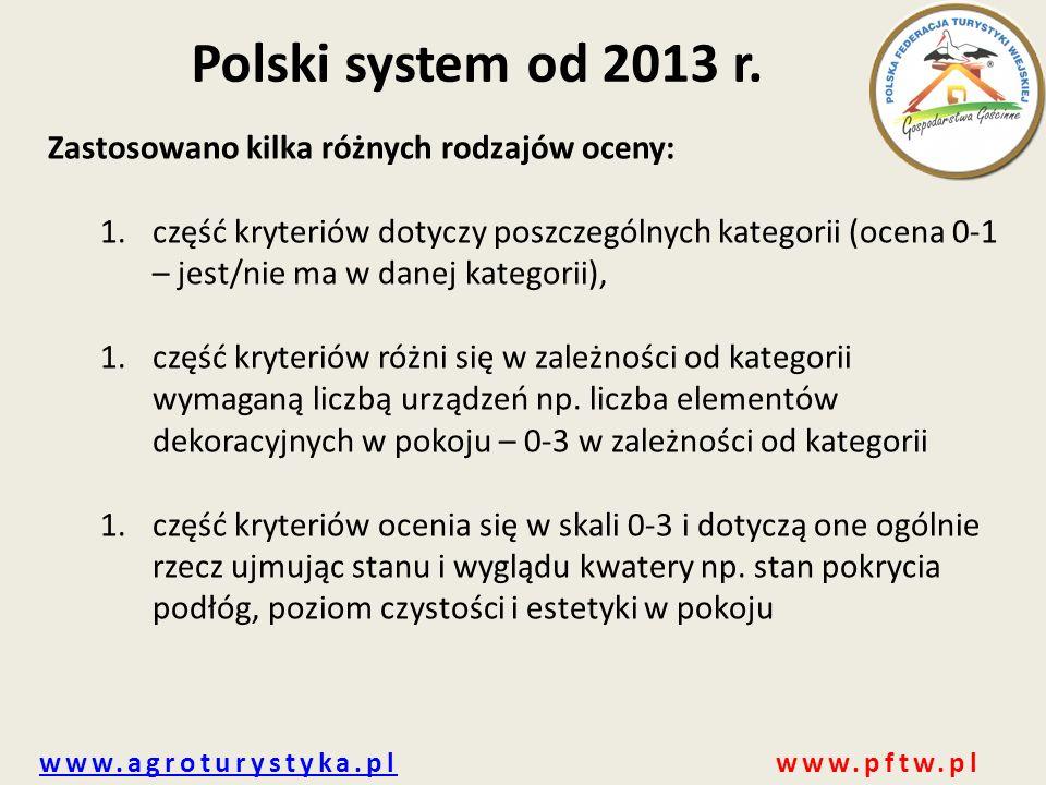 www.agroturystyka.plwww.agroturystyka.pl www.pftw.pl Polski system od 2013 r. Zastosowano kilka różnych rodzajów oceny: 1.część kryteriów dotyczy posz
