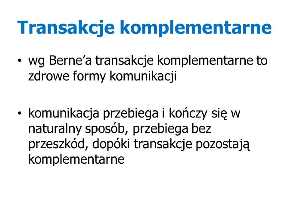 Transakcje komplementarne wg Berne'a transakcje komplementarne to zdrowe formy komunikacji komunikacja przebiega i kończy się w naturalny sposób, przebiega bez przeszkód, dopóki transakcje pozostają komplementarne